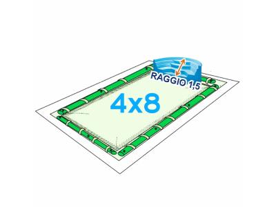 COPERTURA INVERNALE PISCINA 4 X 8 + SCALA ROMANA 1,5 CON SALSICCIOTTI